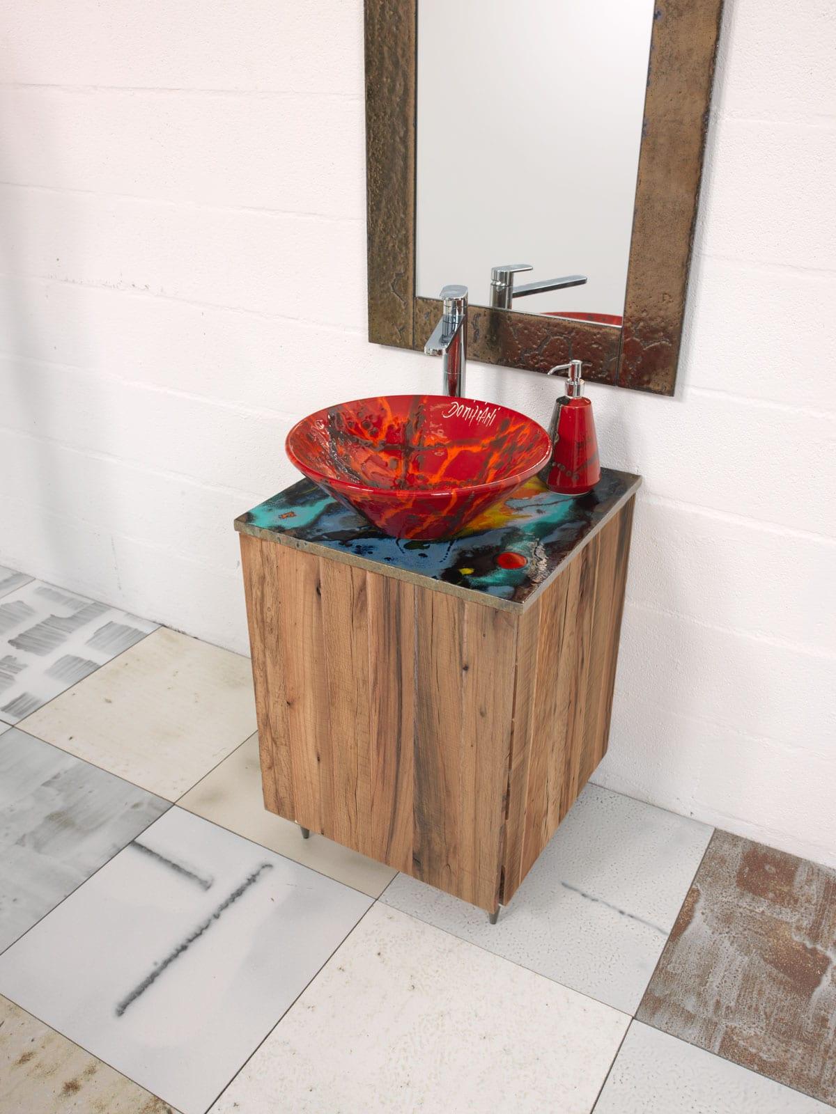 Praiano mobili bagno domiziani pietra lavica maiolicata e ceramica made in italy - Arca mobili bagno ...